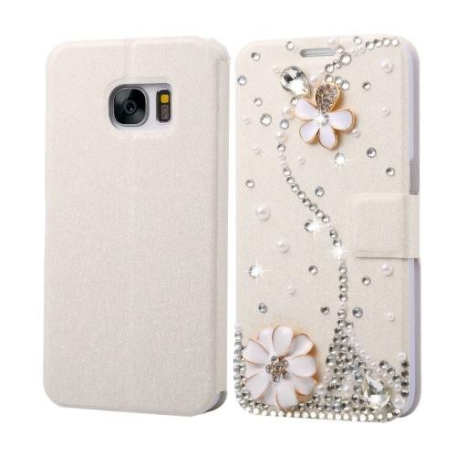 For Galaxy S7 Fevelove Diamond Flower Leather Case with Magnetic Buckle & Card Slot