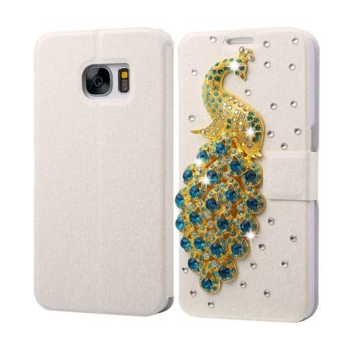 For Galaxy S7 Fevelove Diamond Peacock Leather Case with Magnetic Buckle & Card Slot