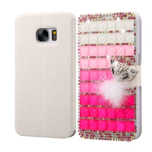 For Galaxy S7 Fevelove Diamond Fox Leather Case with Magnetic Buckle & Card Slot
