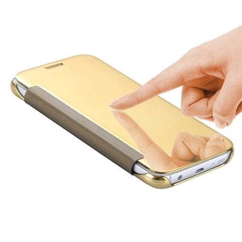 For Galaxy S7 Gold Smart Cover Acrylic Mirror + TPU Case
