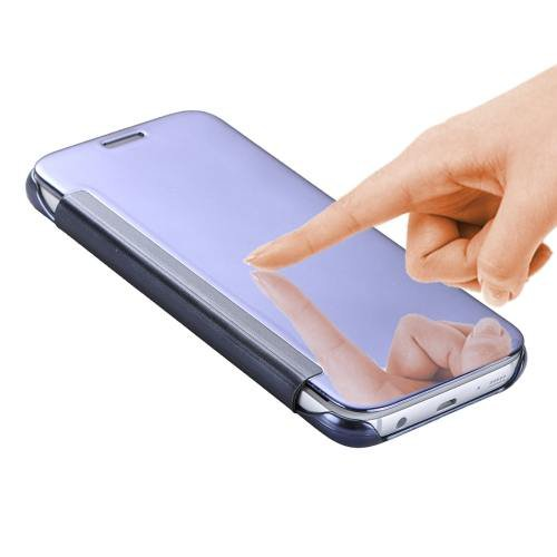 For Galaxy S7 Blue Smart Cover Acrylic Mirror + TPU Case