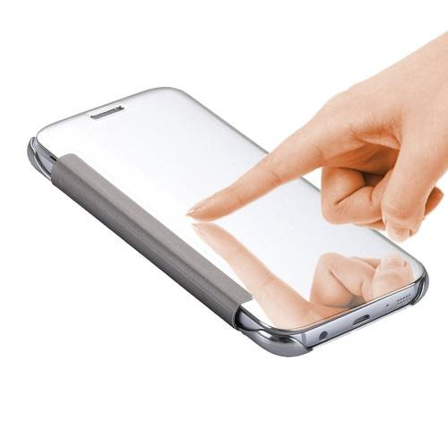 For Galaxy S7 Silver Smart Cover Acrylic Mirror + TPU Case