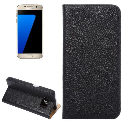 For Galaxy S7 Black Litchi Genuine Flip Leather Case with Holder
