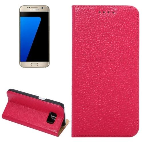 For Galaxy S7 Magenta Litchi Genuine Flip Leather Case with Holder