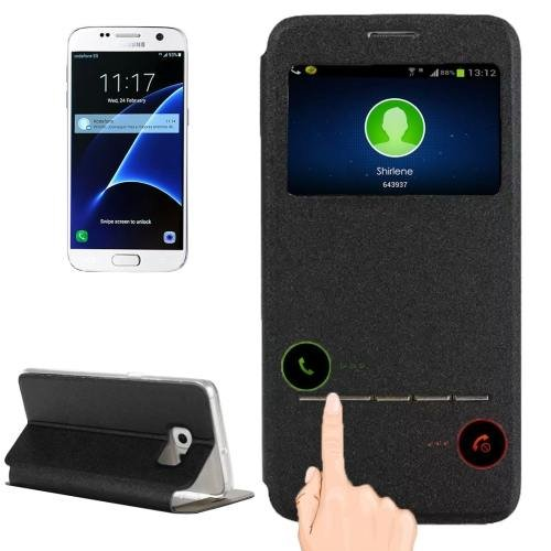 For Galaxy S7 Black Leather Case with Holder & Call Display ID
