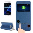 For Galaxy S7 Blue Leather Case with Holder & Call Display ID