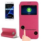 For Galaxy S7 Magenta Leather Case with Holder & Call Display ID