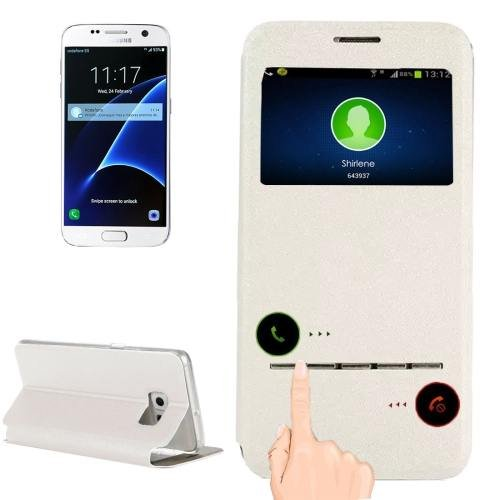 For Galaxy S7 White Leather Case with Holder & Call Display ID