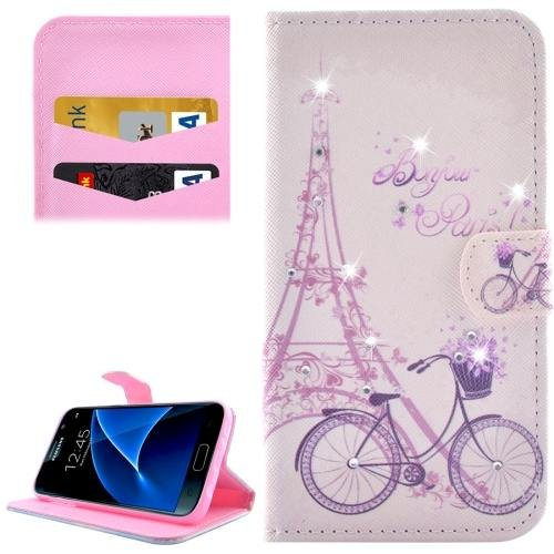 For Galaxy S7 Bicycle Diamond Encrusted Leather Case with Wallet