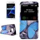 For Galaxy S7 Butterfly Leather Case with Call Display ID & Holder