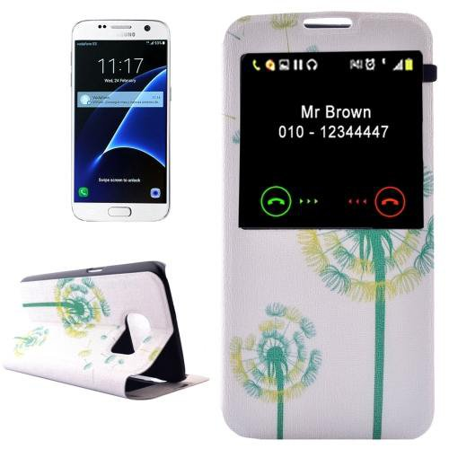 For Galaxy S7 Dandelion Leather Case with Call Display ID & Holder