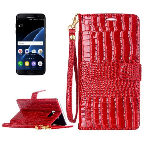 For Galaxy S7 Red Crocodile Flip Leather Case with Card Slots & Photo Frame