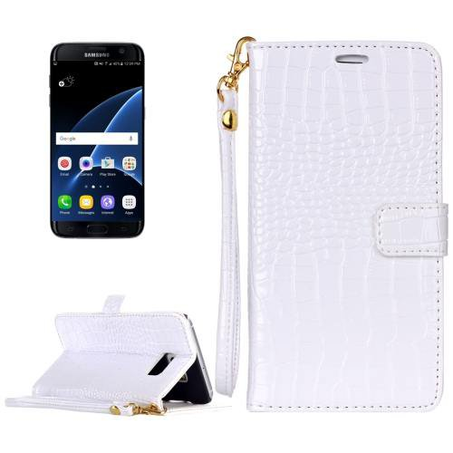 For Galaxy S7 White Crocodile Flip Leather Case with Card Slots & Photo Frame