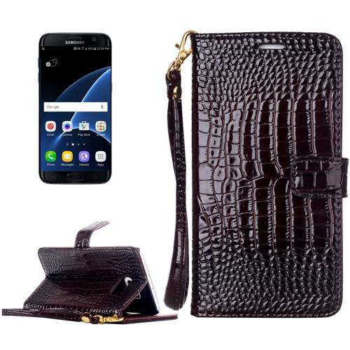 For Galaxy S7 Brown Crocodile Flip Leather Case with Card Slots & Photo Frame