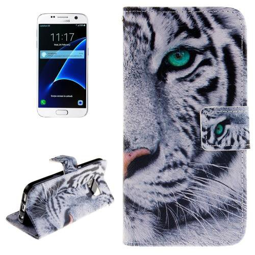 For Galaxy S7 Tiger Pattern Leather Case with Holder, Card Slots & Wallet