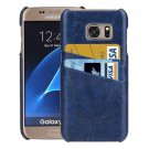 For Galaxy S7 Dark Blue Oil Wax Leather Back Cover Case with Card Slots