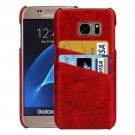 For Galaxy S7 Red Oil Wax Leather Back Cover Case with Card Slots