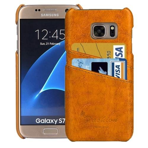 For Galaxy S7 Yellow Oil Wax Leather Back Cover Case with Card Slots