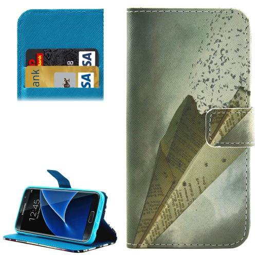 For Galaxy S7 Airplane Pattern Leather Case with Holder, Card Slots & Wallet