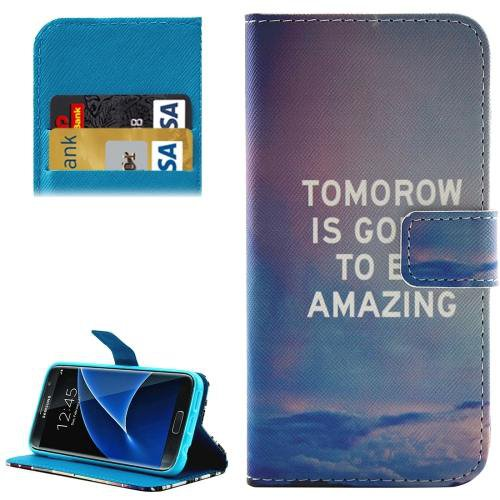 For Galaxy S7 Scenery Pattern Leather Case with Holder, Card Slots & Wallet