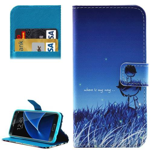 For Galaxy S7 Exploration Pattern Leather Case with Holder, Card Slots & Wallet