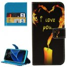 For Galaxy S7 Candle Pattern Leather Case with Holder, Card Slots & Wallet