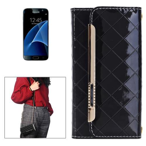 For Galaxy S7 Black Flip Leather Shoulder Bag with Card Slots & Wallet