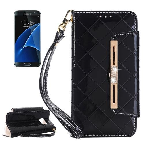 For Galaxy S7 Black Diamond Leather Bag with Card Slots & Wallet