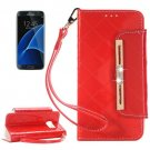 For Galaxy S7 Dark Red Diamond Leather Bag with Card Slots & Wallet