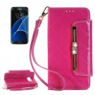 For Galaxy S7 Magenta Diamond Leather Bag with Card Slots & Wallet
