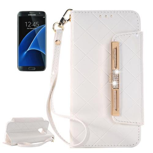 For Galaxy S7 White Diamond Leather Bag with Card Slots & Wallet