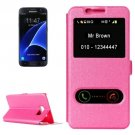 For Galaxy S7 Magenta Silk Leather Case with Call Display ID & Holder