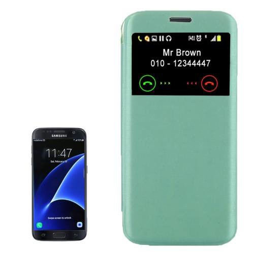 For Galaxy S7 Green Flip Leather Case with Call Display ID