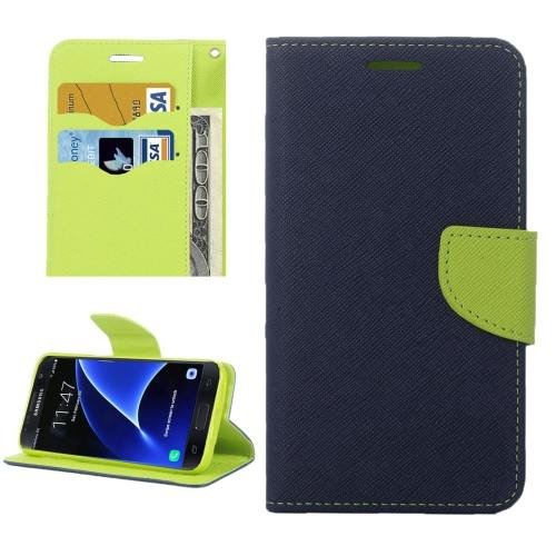For Galaxy S7 Dark Blue Cross Leather Case with Card Slots, Holder & Wallet