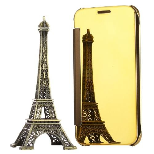 For Galaxy S7 Gold Electroplating Mirror Horizontal Flip Leather Case