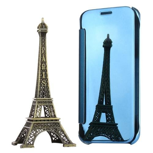 For Galaxy S7 Blue Electroplating Mirror Horizontal Flip Leather Case