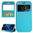 For Galaxy S7 Blue Leather Case with Call Display ID, Holder & Card Slots