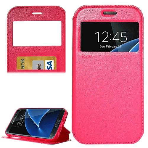 For Galaxy S7 Red Leather Case with Call Display ID, Holder & Card Slots