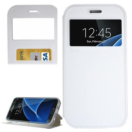 For Galaxy S7 White Leather Case with Call Display ID, Holder & Card Slots