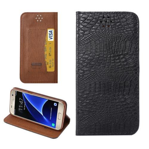 For Galaxy S7 Black Magnetic Crocodile Texture Flip Leather Case