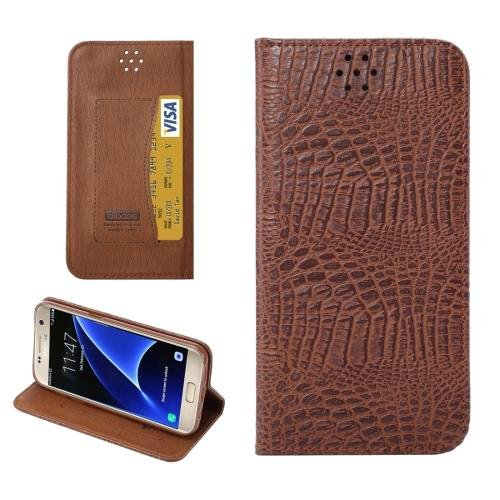 For Galaxy S7 Coffee Magnetic Crocodile Texture Flip Leather Case