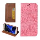 For Galaxy S7 Pink Magnetic Crocodile Texture Flip Leather Case
