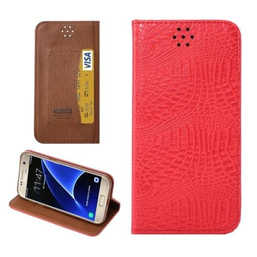For Galaxy S7 Red Magnetic Crocodile Texture Flip Leather Case