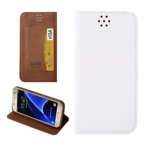 For Galaxy S7 White Magnetic Crocodile Texture Flip Leather Case