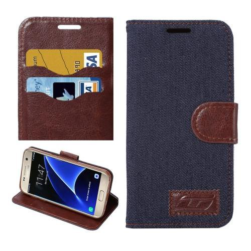 For Galaxy S7 Black Jeans Leather Case with Holder & Card Slots