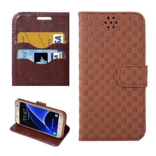 For Galaxy S7 Coffee Grid Voltage Leather Case with Holder & Card Slots