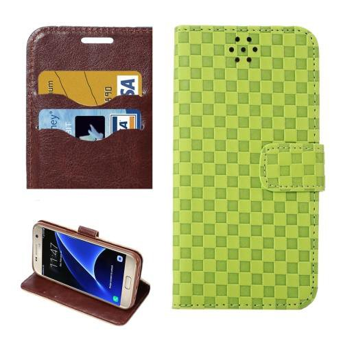 For Galaxy S7 Green Grid Voltage Leather Case with Holder & Card Slots