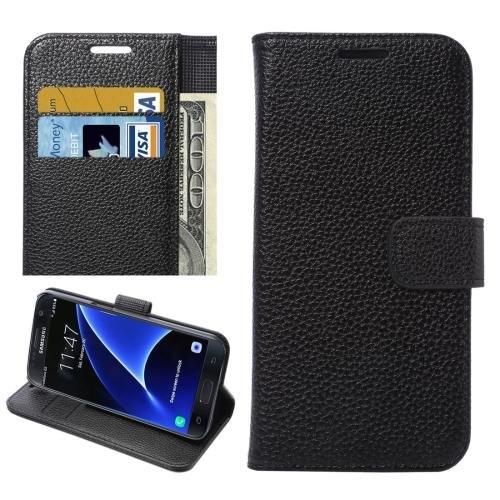 For Galaxy S7 Black Litchi Leather Case with Holder, Wallet & Card Slots