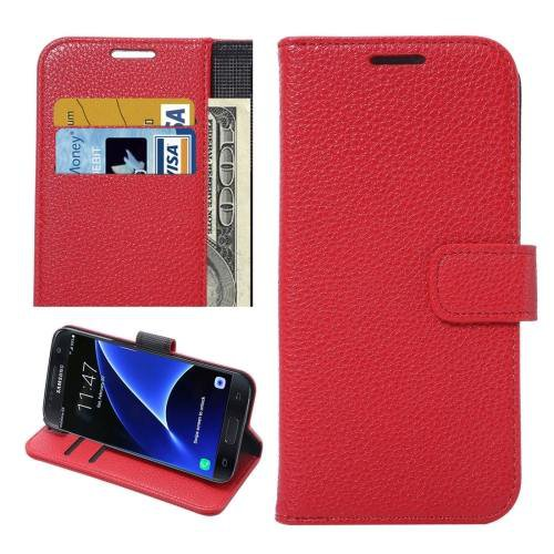 For Galaxy S7 Red Litchi Leather Case with Holder, Wallet & Card Slots