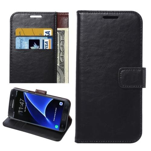 For Galaxy S7 Black Crazy Horse Leather Case with Holder, Wallet & Card Slots